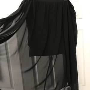 Black pencil skirt with sheer.